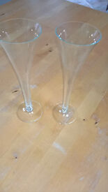 Two glass champagne flutes