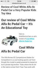Kids Alfa Romeo pedal car, cost almost £200 when bought new