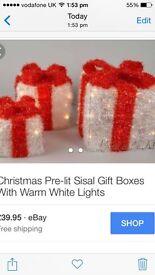 7ft White Christmas Tree & light up parcels