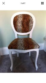 Leopard animal print and white vintage French Look throne Chair
