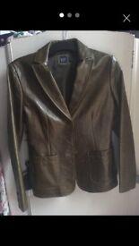 ladies Gap green leather jacket size 8
