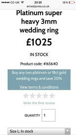Platinum super heavy 3mm wedding ring