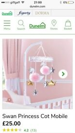 Dunelm swan princess cot mobile