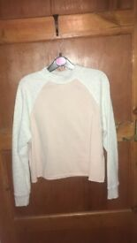 H&M grey and pink jumper
