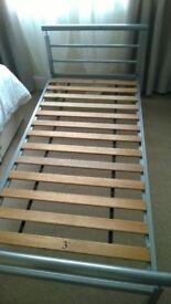 Single Grey Metal Bed Frame.