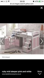 Mid sleeper bed with pull out desk and steps and seperate matching set of draws