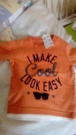 Orange t shirt 12-18 months new with tags
