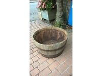 Wooden Barrels for patio, 31 inches diameter, large oak half barrel x 3, Bargain at £30 each.