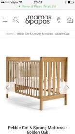 Mamas & Papas White Pebble Cot with storage drawer and cot top changer