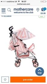 My babiie stroller MB02 billie faiers pink grey white chevron stripes new in box £80 ono