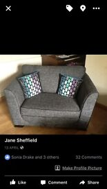 Sofa 3 seater 2 seater chair pouffee very modern need gone asap