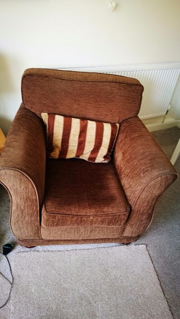 Brown Fabric 2/3 sofa and chair