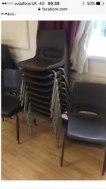 Metal and plastic stacking chairs