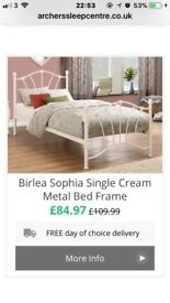 CREAM BED FRAME FROM ARCHERS