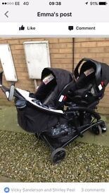 Graco Duo Tandem Quattro Sport Luxe inc 2 x infant car seats, rain cover, foot muffs, travel system
