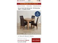 Oak extendable dining table and 4 chairs from oakfurnitureland