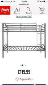 Silver coloured bunk beds