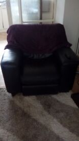 Black leather recling chair