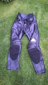 HEIN GERICKE LEATHER MOTORCYCLING TROUSERS