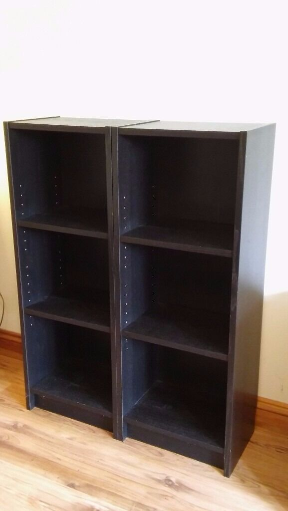 Two Ikea Billy Bookcases in black-brown, very good condition