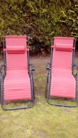 Two Red Reclining Garden/Camping Chairs