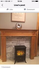 ***BRAND NEW REAL OAK VENEER FIRE SURROUND STILL IN BOX WITH FIXTURES/ FITTINGS