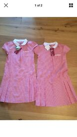 2 red check school dresses, size 9