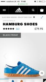 Adidas Hamburg blue and white brand new in box. Box and shoes in prefect condition. Uk 5.5