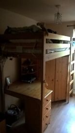 pine high sleeper with desk and wardrobe