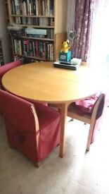 44 inch (c.1100mm) dia. table plus 4 chairs
