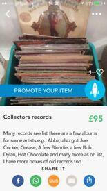 Box of records Abba, hot chocolate,