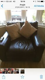 Brown leather 3 piece suite good condition