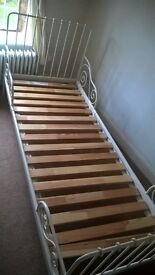 Extendable single bed frame, mattress and bedding
