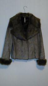 Mock suede and fur jacket
