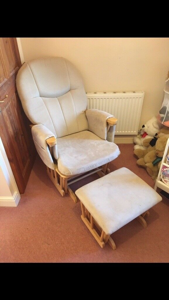 Glider nursing chair and foot stool