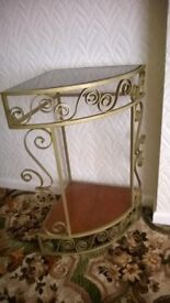 Wrought Iron (Quadrant Shape) Gold Finish Telephone Table with Smoked Glass Top and Wooden Shelf