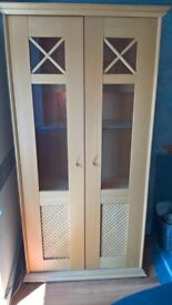 Beech Display cabinets excellent condition. Bought from Harveys.
