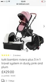 Travel system pink and silver