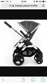 ICandy Peach in truffle with Maxi Cosi car seat & Easyfix base.