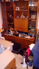 Beautiful retro real wooden dresser with lighted display cases and plenty of storage - £60