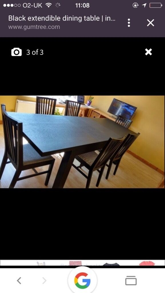 Expandable dinning table with 6 chairs