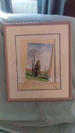 Change in Perspective - Neil Simone surreal art framed - original watercolour -artist signed-REDUCED