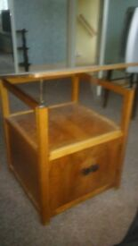 1950s TILTING TV TABLE WITH CUPBOARD BY TENAX FREEDLAND LTD, MANCHESTER