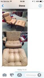 Cream leather swivel chair & footstool