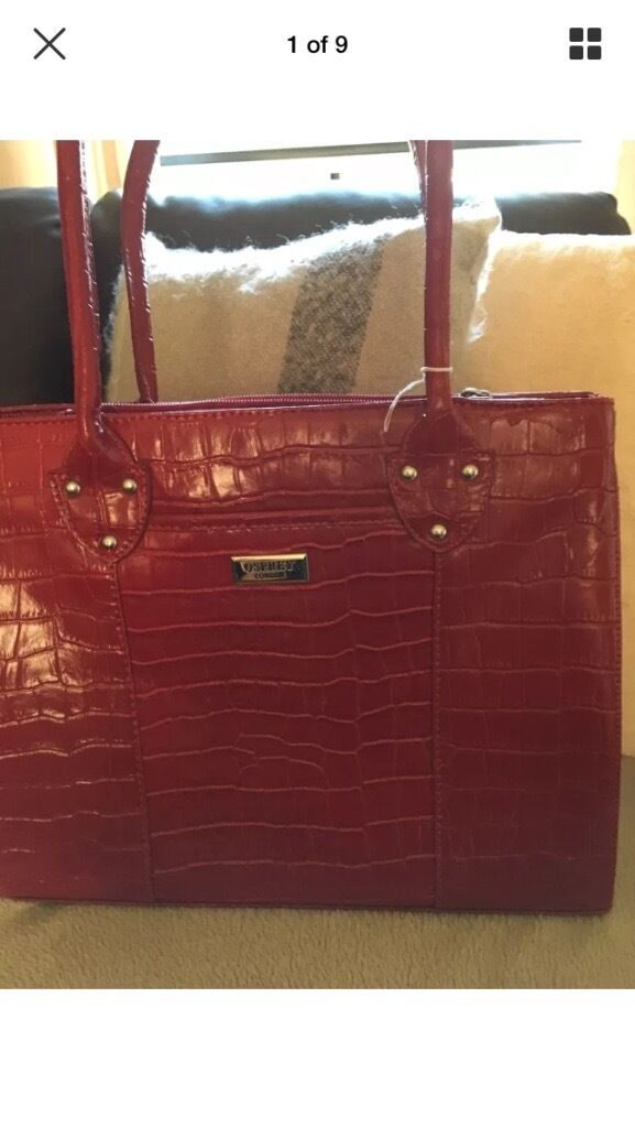Osprey Red leather handbag in excellent condition. Selling as no ...