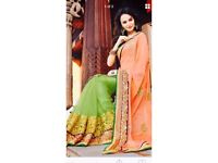 Lime green and peach net saree
