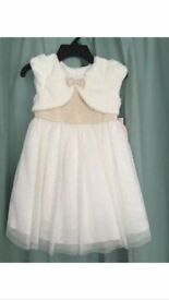 FLOWER GIRL DRESS IN GOLD & CREAM AGE 2 YEARS - BEAUTIFUL DRESS EX COND