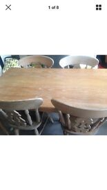 Shabby chic wooden dining table and chairs vintage