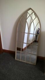 LARGE ARCHED MIRROR - DISTRESSED ANTIQUE METAL STYLE