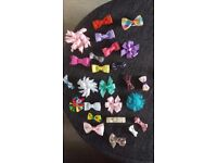 25 mixed hair bows for baby or toddler - most custom made and many never worn